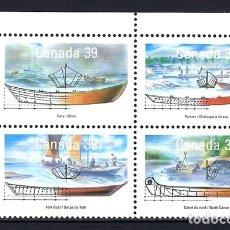 Sellos: 1990 CANADÁ BARCO VELERO CHALUPA CANOA BARCA REMOS YVERT 1135/1138 - NUEVOS MNH** . Lote 182467175