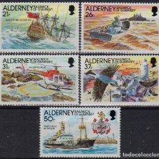 Sellos: ALDERNEY 1991 IVERT 49/53 *** HISTORIA DEL FARO DE LA CASQUETS - BARCOS Y FAROS. Lote 189732278