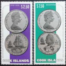 Sellos: 1974. COOK. 389/390. VIAJE JAMES COOK A OCEANÍA. MONEDAS PLATA. OPORTUNIDAD. SERIE COMPLETA. NUEVO.. Lote 193695685