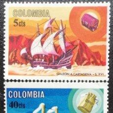 Sellos: 1966. BARCOS. COLOMBIA. 615, 618, 619. MERCANTE, BARCO A VAPOR, MOTONAVE MODERNA. NUEVO.. Lote 194389646