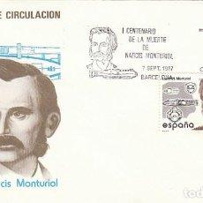 Sellos: EDIFIL 2881, CENTENARIO DE NARCIS MONTURIOL (SUBMARINO), PRIMER DIA DE 7-9-1987 SFC. Lote 195488501