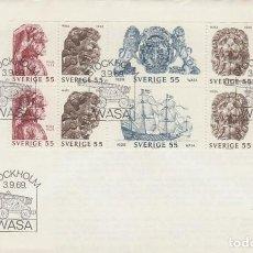 Sellos: SUECIA IVERT 625/30, ADORNOS DEL BARCO DE GUERRA WASA, PRIMER DIA 3-9-1969 CON EL CARNET COMPLETO. Lote 196995457