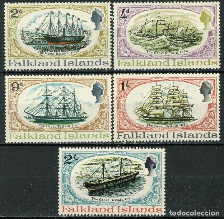 FALKLAND 1970 IVERT 186/90 * RESTAURACIÓN DEL NAVIO GREAT BRETAIN - BARCOS (Sellos - Temáticas - Barcos)