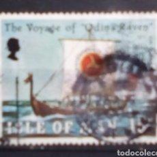 Francobolli: ISLA DE MAN BARCO VIKINGO SELLO USADO. Lote 203970657