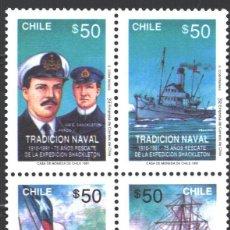 Francobolli: CHILE, 1991 YVERT Nº 1043 / 1046, BARCOS / 75 ANIVERSARIO DEL RESCATE A LA EXPEDICIÓN DE SCHACKLETON. Lote 207438826