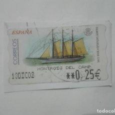 "Sellos: SELLO PAILEBOTE ""SANTA EULALIA"" (M.M.B. - C.D.M.) ETIQUETA DE FRANQUEO ATM 0,25€ 2002 CORREOS ESPAÑA. Lote 212648728"