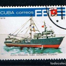 Sellos: SELLO BARCO PESQUERO ATUNERO CUBA 1978 -SELLO USADO MATASELLADO. Lote 213479306