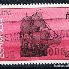 Timbres: BARCOS VELEROS, BERMUDA, NAUFRAGIO DEL WARWICK -SELLO USADO 1986. Lote 213553786