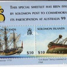 Sellos: SOLOMON IS/1999/MNH/SC#873/ EXPOSICION MUNDIAL FILATELICA AUSTRALIA '99 / BARCOS. Lote 215581965