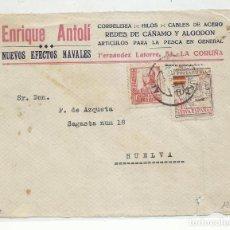 Sellos: FRONTAL CIRCULADA 1937 EFECTOS NAVALES DE LA CORUÑA A HUELVA CON SELLO LOCAL. Lote 218500446