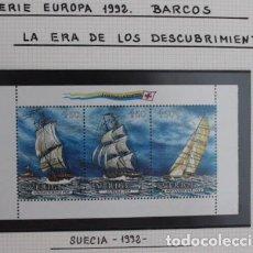 Sellos: TRIPTICO SELLOS NUEVOS DE SUECIA SERIE EUROPA 1992 BARCOS DE VELA. Lote 173669318