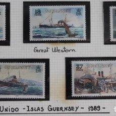 Sellos: SERIE 5 SELLOS NUEVOS BARCOS DE VAPOR ISLAS GUERNSEY 1989 (REINO UNIDO). Lote 173670008