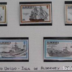 Sellos: SERIE 5 SELLOS BARCOS HMS ALDERNEY ISLA ALDERNEY 1990 (REINO UNIDO). Lote 173670325