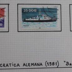 Sellos: LOTE 3 SELLOS BARCOS DE LA DDR AÑO 1981. Lote 173911968