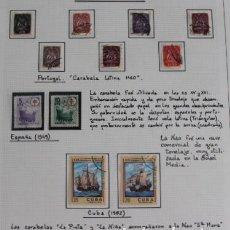 Sellos: LOTE 11 SELLOS USADOS BARCOS CARABELAS ESPAÑA PORTUGAL Y CUBA. Lote 218875306