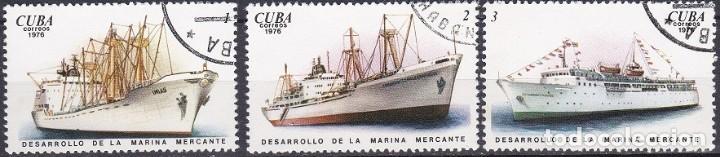 LOTE DE SELLOS - CUBA - MARINA - BARCOS - BUQUES - VELEROS (AHORRA EN PORTES, COMPRA MAS) (Sellos - Temáticas - Barcos)
