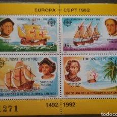 Sellos: HB R. RUMANIA (P. ROMANA) NUEVOS/1992/500ANIV/DESCUBRIMIENTO/AMERICA/COLON/BARCO/VELERO/EUROPA/CEPT. Lote 222219095