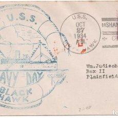 Francobolli: CARTA DE SEATTLE A PLAINFIELD USA CIRCULADO CON MARCA Y MATASELLOS DEL USS BLACK HAWK. Lote 225045078