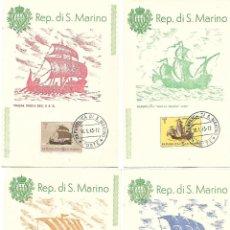 Sellos: BARCOS ANTIGUOS. 10 TARJETAS MAXIMAS. SAN MARINO 1963. Lote 230898270