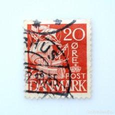 Sellos: SELLO POSTAL DINAMARCA 1933, 20 ØRE, VELERO , BARCO DE VELA, 250 ANIV. SERV. ADUANAS, USADO. Lote 235288470