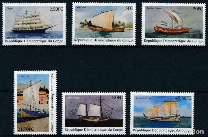 REP. DEMOCRATICA DEL CONGO 2001 IVERT 1522GV/HA *** BARCOS VELEROS ANTIGUOS (Sellos - Temáticas - Barcos)