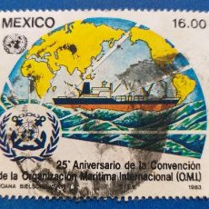 Sellos: USADO. MEXICO. AÑO 1982. 25 ANIV. ORGANIZACION MARITIMA INTERNACIONAL. YVERT 1007. Lote 236391270