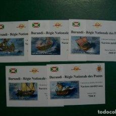 Sellos: /22.04/-LIQUIDACION-BURUNDI-2012-SERIE COMPLETA DE 5 BLQUES SIN DENTAR EN NUEVO(**MNH)-. Lote 236884955