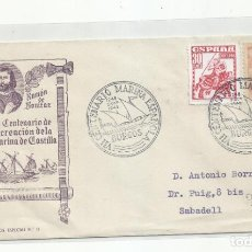 Sellos: CENTENARIO MARINA DE CASTILLA 1948 CIRCULADA DE BURGOS A SABADELL. Lote 242042495