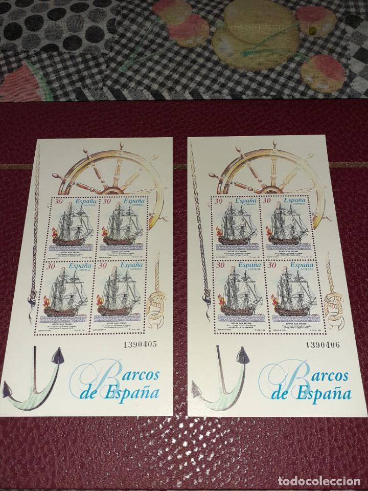 2 PLANCHAS DE 4 SELLOS BARCOS DE ESPAÑA DE 1995. SIN CIRCULAR. NUMERADAS (Sellos - Temáticas - Barcos)