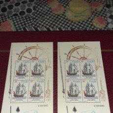 Timbres: 2 PLANCHAS DE 4 SELLOS BARCOS DE ESPAÑA DE 1995. SIN CIRCULAR. NUMERADAS. Lote 243771725