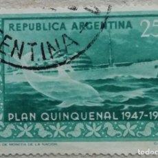 """Sellos: 1951. ARGENTINA. 514. BARCO TRANSATLÁNTICO """"17 DE OCTUBRE"""" Y CETÁCEO. SERIE COMPLETA. USADO.. Lote 244881535"""