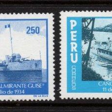 Sellos: PERU 789/90** - AÑO 1984 - BARCOS DE GUERRA - HISTORIA MILITAR. Lote 245450220