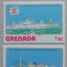 Sellos: 1976. GRENADA. 709, 710. NAVÍOS 'GEESTLAND' Y 'FEDERAL PALM'. NUEVO.. Lote 246087095