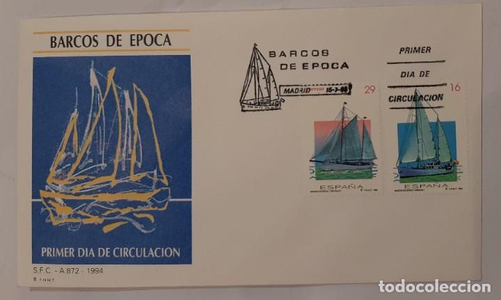 MATASELLOS PRIMER DÍA. ESPAÑA 1994. BARCOS DE ÉPOCA (Sellos - Temáticas - Barcos)