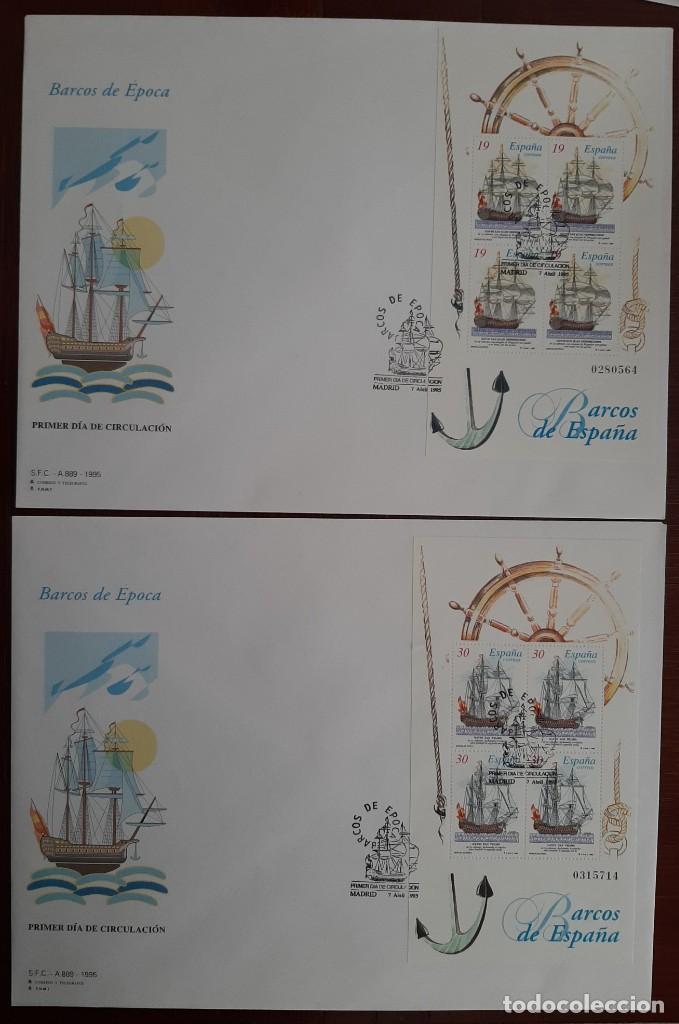 MATASELLOS PRIMER DÍA. ESPAÑA 1995. BARCOS DE ÉPOCA (Sellos - Temáticas - Barcos)