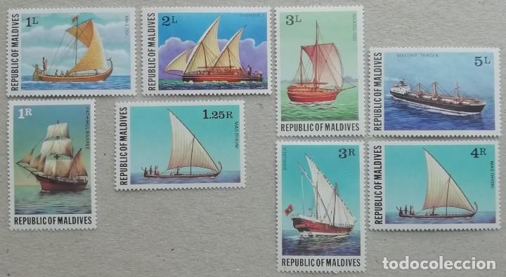 1978. MALDIVAS. 699 / 706. HISTORIA DE LA NAVEGACIÓN. SERIE COMPLETA. NUEVO. (Sellos - Temáticas - Barcos)