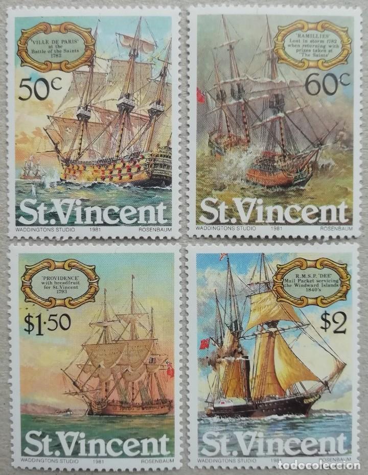 1981. SAN VICENTE. 610 / 613. 'VILLE DE PARIS','RAMILLIES','PROVIDENCE','DEE'. SERIE COMPLETA. NUEVO (Sellos - Temáticas - Barcos)