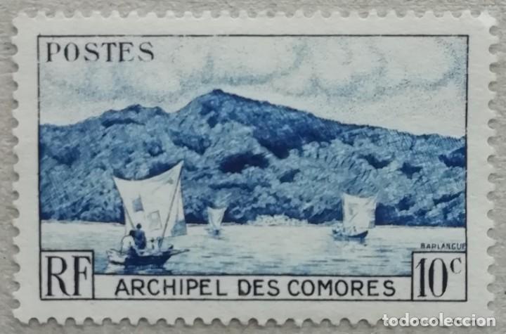 1950. COMORES. 1 (PRIMER SELLO). BARCOS EN LA BAHÍA DE ANJOUAN. USADO. (Sellos - Temáticas - Barcos)