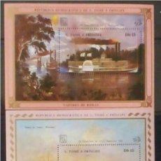 Sellos: BARCOS DE VAPOR 3 HOJAS BLOQUE DE SELLOS NUEVOS DE ST. TOME Y PRÍNCIPE. Lote 260496900
