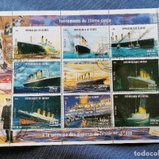 Sellos: BARCOS TITANIC GUINEA , SERIE DE 9 SELLOS EN HB SELLOS USADOS. Lote 269960708