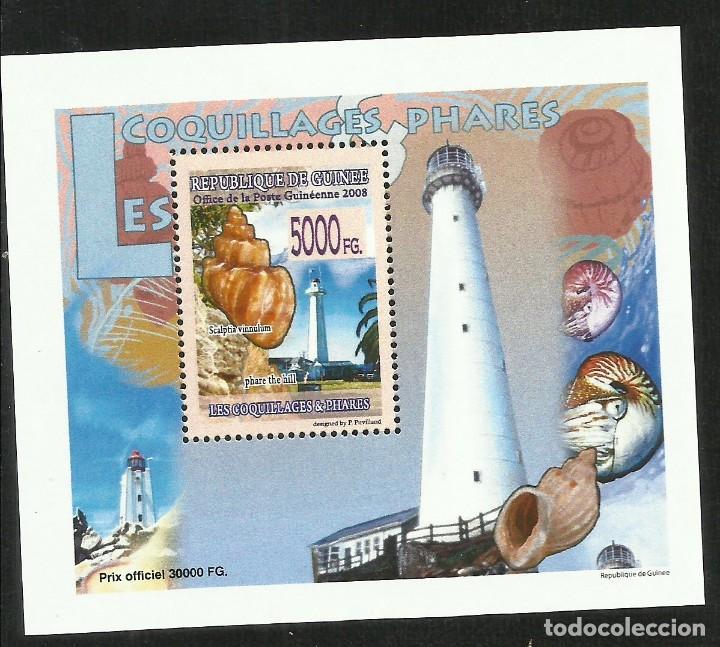 GUINEA 2008 HOJA BLOQUE SELLOS FAROS Y FAUNA MARINA CONCHAS- FARO- CARACOLAS- LIGHTHOUSES (Sellos - Temáticas - Barcos)