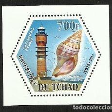 Sellos: TCHAD 2014 HOJA BLOQUE TEMATICA FAUNA MARINA - CARACOLES - FAROS DE NAVEGACION DE FRANCIA FARO. Lote 276479928