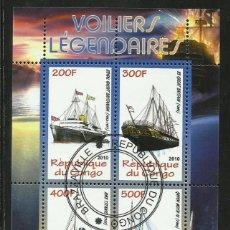 Sellos: CONGO 2010 HOJA BLOQUE SELLOS BARCOS LEGENDARIOS - BOATS- VELEROS - BARCO - SCHIFFE- TITANIC. Lote 276483478