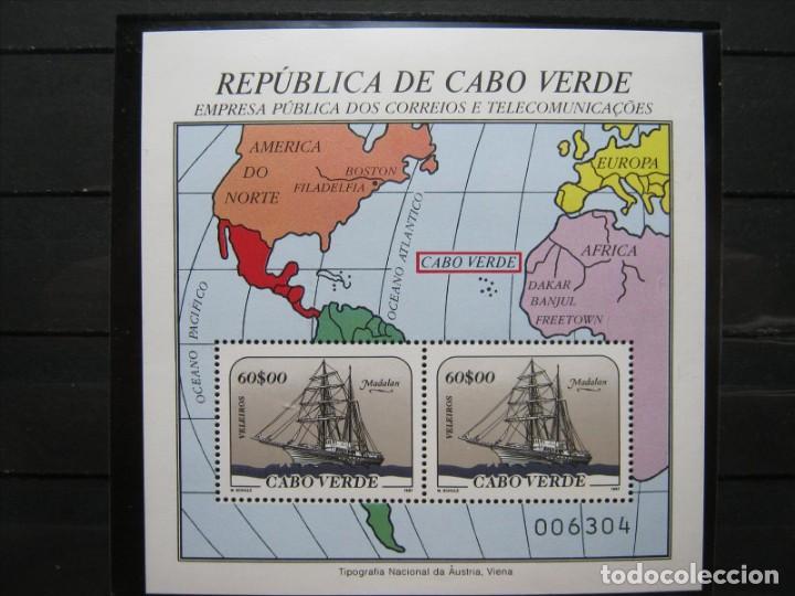 CABO VERDE HOJA BARCOS 1987 MNH** SIN CHARNELA LUJO!!! (Sellos - Temáticas - Barcos)
