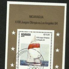 Sellos: NICARAGUA 1984 HOJA BLOQUE TEMATICA BARCOS- VELEROS - OLIMPIADAS LOS ANGELES 84- VELA. Lote 287717273