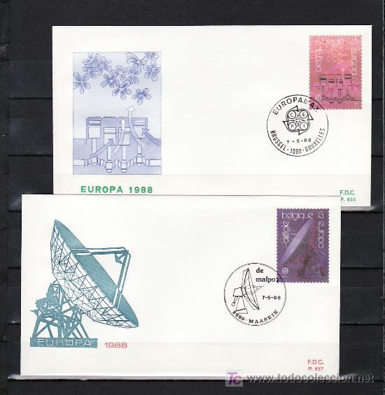 BELGICA 2283/4 PRIMER DIA, TEMA EUROPA 1988, TRANSPORTE Y COMUNICACION, (Sellos - Extranjero - Europa - Bélgica)