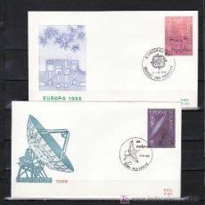 Sellos: BELGICA 2283/4 PRIMER DIA, TEMA EUROPA 1988, TRANSPORTE Y COMUNICACION, . Lote 10799263
