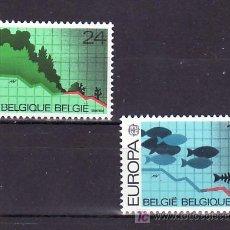 Sellos: BELGICA 2211/2 SIN CHARNELA, TEMA EUROPA 1986, PROTECCION DE LA NATURALEZA Y MEDIO AMBIENTE, PECES, . Lote 10913241