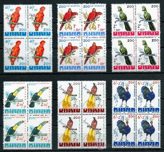 BÉLGICA AÑO 1962 YV 1216/21*** AVES DEL ZOO DE AMBERES - FAUNA - NATURALEZA (Sellos - Extranjero - Europa - Bélgica)