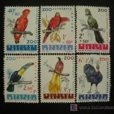 Sellos: BELGICA 1962 IVERT 1216/21 *** AVES ZOO DE AMBERES - FAUNA. Lote 16481274